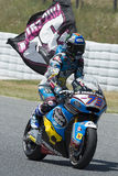 Driver Alex Marquez and tribute to the dead pilot Luis Salom. Stock Image