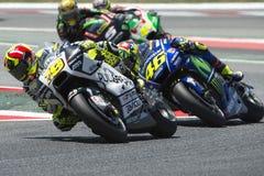 Driver Alvaro Bautista Tiri e sopporti il gruppo Gran Premio di energia del mostro della Catalogna Immagine Stock