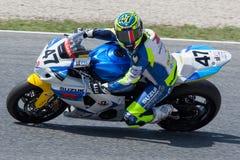 Driver Angel Rodriguez Team Suzuki FIM CEV Repsol Fotografie Stock Libere da Diritti