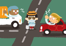 Driver arrabbiato dentro in città Fotografia Stock