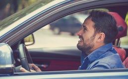 Driver arrabbiato Espressione umana negativa del fronte di emozioni Immagini Stock Libere da Diritti