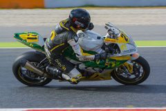 Driver Aurelio Hernandez. BMW S1000RR. Mediterranean Motorcycling Championships. Barcelona, Spain - July 19, 2015 Stock Image