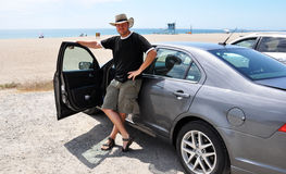 Driver in the beach Stock Images