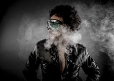 Driver, biker with sunglasses era dressed Leather jacket, huge s Royalty Free Stock Image