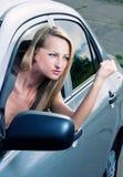Driver biondo arrabbiato Fotografia Stock Libera da Diritti