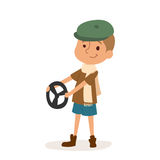 Driver boy car rudder cute cartoon vector profession character person childhood uniform worker isolated illustration. Driver boy with rider and driver funny Stock Images