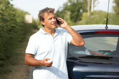 Driver Broken Down On Country Road Royalty Free Stock Image