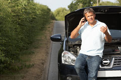 Driver Broken Down On Country Road Royalty Free Stock Photo