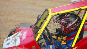Driver Buggs. Buggy driver in the car before the start stock video