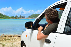Driver came to the sea shore Royalty Free Stock Images
