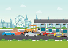 Driver cars passing through to pay road toll at highway toll boo. Th, vector illustration Stock Photography