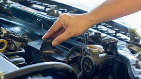 Driver checking the car before used or machanic service Stock Image