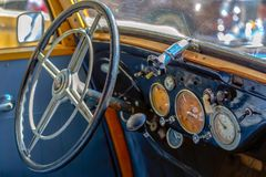Driver cockpit of a vintage car Stock Photos