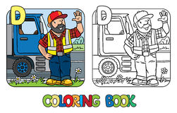 Driver coloring book. Profession ABC. Alphabet D. Coloring book of driver or worker. A man dressed in plaid shirt, vest with reflective stripes and jeans vector illustration