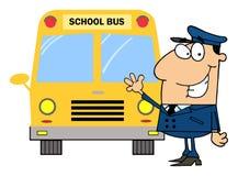 Driver davanti allo scuolabus Fotografia Stock Libera da Diritti