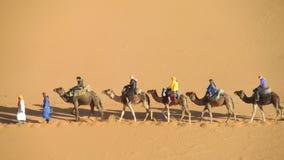 Driver del cammello con il caravan turistico del cammello Fotografia Stock