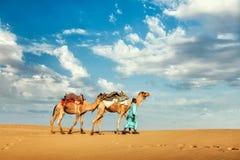 Driver del cammello di Cameleer con i cammelli in dune di Thar fotografie stock libere da diritti