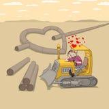 Driver del trattore nell'amore Immagine Stock