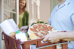 Driver Delivering Online Grocery Order Stock Photos