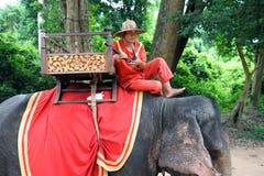 Driver dell'elefante in Angkor Thom, Fotografie Stock