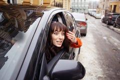 Driver della donna con attacco di panico Fotografia Stock Libera da Diritti