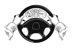 Driver design element with hands holding steering Stock Images