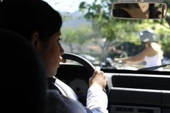 Driver di automobile quasi che si scontra con la bici Immagini Stock Libere da Diritti