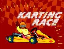 Driver di corsa di Karting su fondo rosso Fotografia Stock Libera da Diritti
