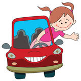 Driver divertente del bambino Fotografia Stock