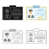 Driver document taxi.Plastik card taxi driver with photo Taxi station single icon in cartoon style vector symbol stock Stock Image