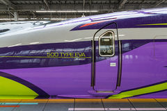 Driver door of 500 TYPE EVA High-speedShinkansen train. Stock Images