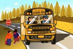 Driver e bambini di scuolabus illustrazione di stock