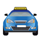 Driver education car. Vector illustration of blue driver education car. Vector format eps 10 is available Royalty Free Stock Photos