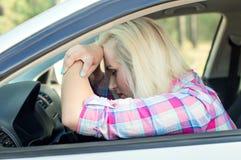 Driver fell asleep driving the car Royalty Free Stock Photos