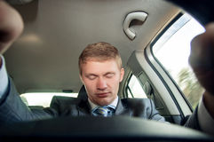 Driver fell asleep at the wheel of a car Stock Image