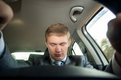 Driver fell asleep at the wheel of a car while driving Royalty Free Stock Photo