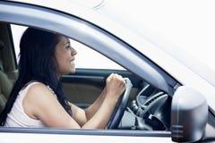 Driver femminile arrabbiato Fotografia Stock