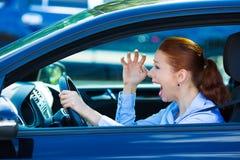 Driver femminile arrabbiato Fotografia Stock Libera da Diritti