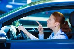 Driver femminile arrabbiato Immagine Stock Libera da Diritti