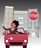 Driver femminile arrabbiato Immagini Stock