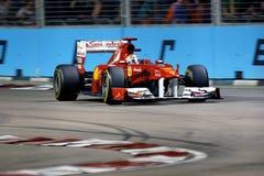 Driver Fernando Alonso quarta Singapore F1 del Ferrari Fotografie Stock Libere da Diritti