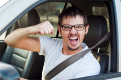 Driver with fist stock photo