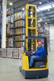 The driver of a forklift pallet truck, reach trucks. Stock Photography