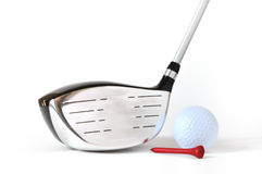 Driver, Golf Ball, and Red Tee Royalty Free Stock Photos