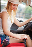 Driver hand shifting the gear stick. Transportation and vehicle concept. Female driver shifting gear manually Stock Image
