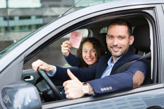 Driver in his car after getting his driving licence Royalty Free Stock Photography