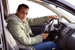 Driver in his new car royalty free stock images