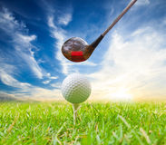 Driver hit golf ball on tee Royalty Free Stock Photography