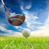 Driver hit golf ball on tee Stock Image