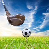 Driver hit soccer ball on tee Royalty Free Stock Photos